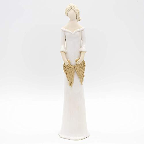 Weißer Engel aus Keramik in einem schmalen Kleid, mit Flügel in den Händen, handgemachte Figur, Skulptur, Schutzengel