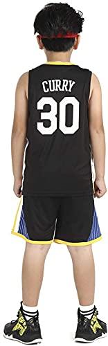 Jersey De Baloncesto De Niño Y Niña - 30#, 35# Churn's Baloncesto Camisa Camisa Camisa Shorts De Verano Jersey, Negro, 30 - XS