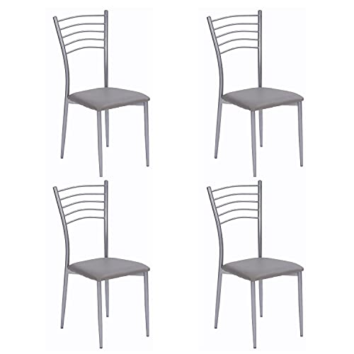 Lote de 4 sillas de Cocina Turín (Gris Claro)