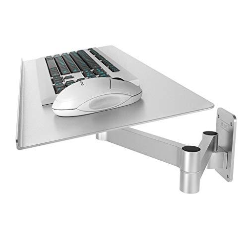 Tray Tastaturablage, Einstellbare Wandhalterung Für Die Maus-Tastatur, Platzsparender Teleskopierbarer Industrieller Wandhalter Für Die Tastatur, Silberfarben -61 × 20 × 0,2 cm