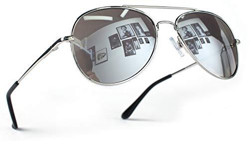 Miobo Hochwertige Pilotenbrille Fliegerbrille Sonnenbrille verspiegelt (Kinder 3-9 Jahre Alt, Silber Silber)