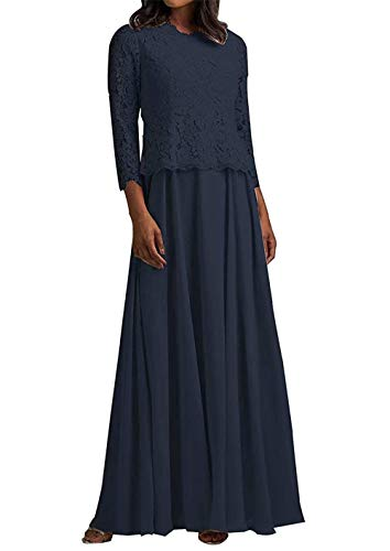 HUINI Abendkleid Lang Elegant Hochzeitskleid Damen Spitzen Brautmutterkleider Langarm mit Jacke Chiffon Navy 32
