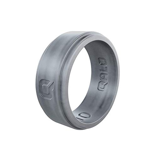 QALO Men's Flat Step Silver Silicone Ring