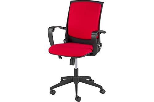 Homemania bureaustoel Eagle zwart rood verstelbare zithoogte met wielen en armleuningen, PP, stof, eenheidsmaat