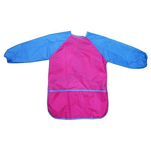 JAWSEU Grembiule Pittura Bambini Maniche Lunghe Unisex Impermeabile con 3 Tasche, Grembiule da Senza Bottoni per Pittura Darte, Cucina, Scolastico, Giardinaggio (Rosa Rossa - L)