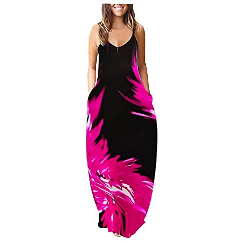 Oiumov Boho Dress for Women Casual Summer Sexy Spaghetti Strap Floral Print Spring Sundress Long Maxi Dress with Pockets