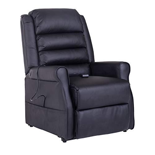 HOMCOM Massagesessel Aufstehsessel Elektrischer Relaxsessel Fernsehsessel mit Wärmefunktion Liegefunktion Aufstehhilfe PU Schwarz 88 x 83 x 110 cm