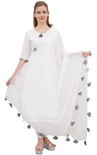 Phagun Frauen-Designer Chiffon Dupatta indische lange Stola Quaste Schals-Weiß