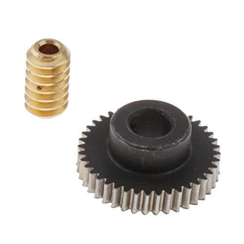 perfk Messing Schneckenrad, 0,5 Modul Schneckenwellen, Getriebewelle, 40 Schnecken Zahnrad Antriebsgetriebe Welle
