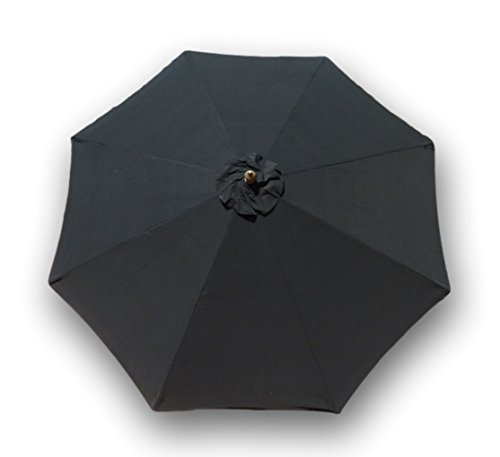 Formosa Covers Replacement Umbrella Canopy for 9ft 8 Ribs in Classic Black Durable Olefin Colorfast Fabric, Stain and Mildew Resistant Perfect for All Seasons, Parties, Events and Enjoying the Outside (Canopy only)