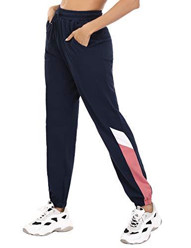 Irevial Damen Jogginghose Baumwolle Lang Sporthose Freizeit Hose Pyjamahose für Jogging Laufen Fitness Traininghose mit Taschen