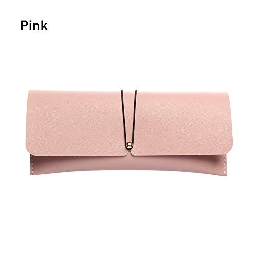 Aqiong Hibeilinq Fashion Buckle PVC Leather Glasses Case Bag Portable Foldable Sunglasses Holder Box Drawstring Soft Eyeglasses Storage Pouch New glasses case for women Color Pink
