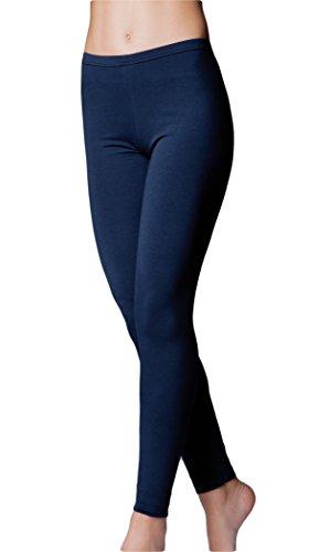 JADEA Leggings Donna Cotone Elasticizzato - Disponibile nei Colori Bianco, Nero, Blu e...