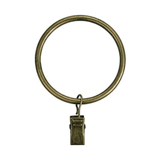 INCREWAY 16 Stücke Vintage Vorhangring, 50mm Eisen Vorhang Clip Gardinenringe mit Clip für Gardinenstangen bis 47 mm