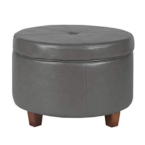 Leatherette Storage Ottoman