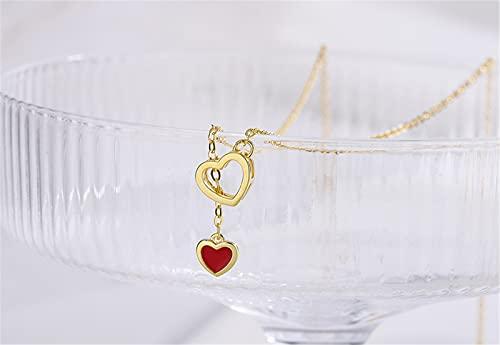 YNING Collar de Amor Rojo Vintage/Collar de Cadena de Clavícula de Doble Amor con Latido del Corazón/Longitud de Cadena Ajustable/Regalos Adecuados para Niñas, Novias, Damas y Esposas