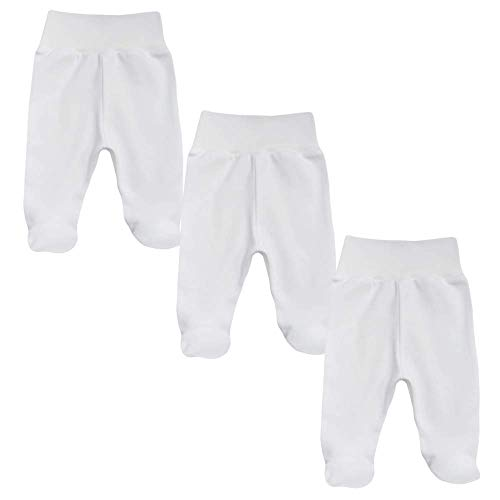 MEA BABY Pantalones unisex para bebé con pie de 100 % algodón orgánico en paquete de 3 unidades.