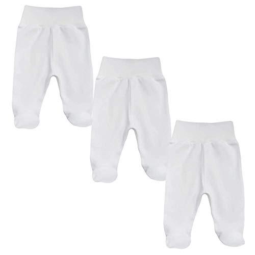 MEA BABY - Pantalones unisex para bebé con pie de algodón orgánico 100%, pack de 3 unidades. Peto para bebé con pie. Pantalones de bebé con pie para niña, con pies.