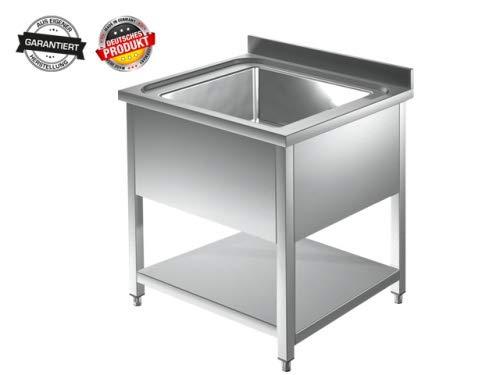 Spültisch 1 Becken mittig - 0,8 x 0,7 m Edelstahlspültisch Edelstahl Gastro Spüle Tisch