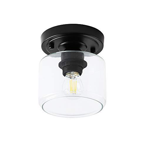 Create for Life 1-Light Semi-Flush Mount Ceiling Light,Rustic Ceiling Light Fixture for Closet Hallway,Matte Black Finish,Clear Glass Shade,E26