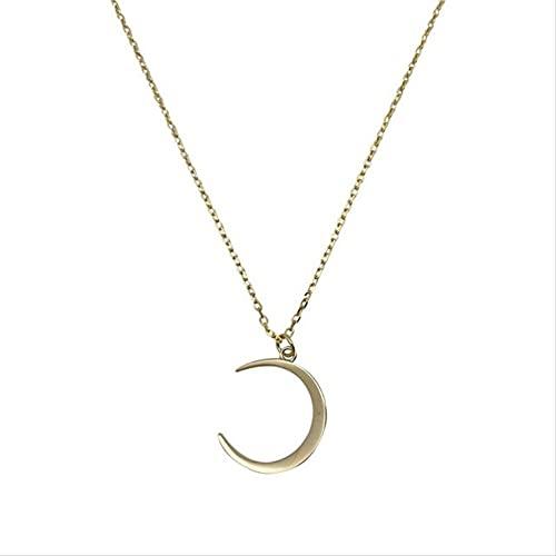 ZHUDJ Moon 925 Joyas de Plata esterlina Temperamento Crescent Clavícula Cadena Collares Pendientes