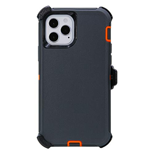 """WallSkiN Turtle Series Belt Clip Case Compatible w iPhone 12 Pro Max (6.7""""), 3-Layer Full Body Life-Time Protective Cover & Holster & Kickstand & Shock, Drop, Dust Proof - Grey/Orange"""