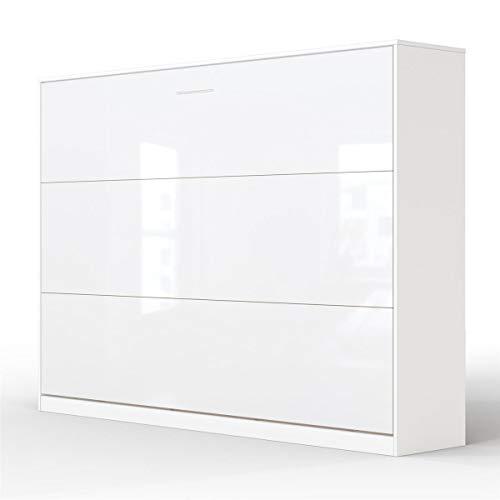 SMARTBett Basic 140x200 Horizontal Weiss/Weiss GlanzSchrankbett | ausklappbares Wandbett, ideal geeignet als Wandklappbett fürs Gästezimmer, Büro, Wohnzimmer, Schlafzimmer