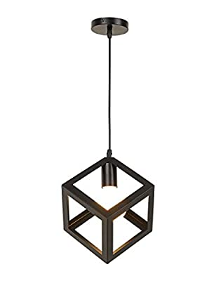 Industrial Cube Pendant Light,Modern Minimalist Geometric Metal Hanging Light Fixture Loft Chandelier with Painted Finish for Hallway Dining Room Kitchen,Black.