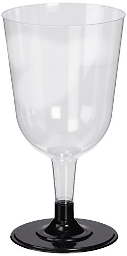 Disposable Wine Glasses Black 8.5oz / 240ml 24cl - Sleeve of 12 | Plastic Wine Glasses, Party Wine Glasses