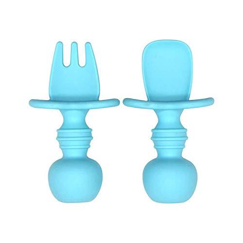 Baby Esslernbesteck bestehend aus Löffel und Gabel (WEICH), Food Grade, BPA frei, Sicher, mit Verschluckschutz, ergonomischer Griff für motorische Entwicklung, Spülmaschinenfest (blau)