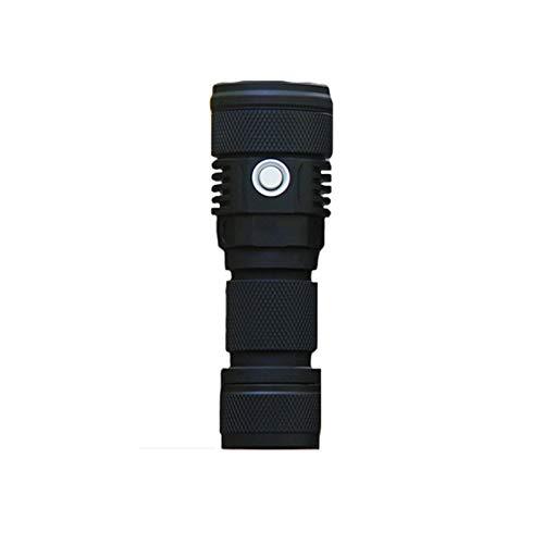 Shhjjpy Lampe De Poche Puissant 2000 Lumens, 500 Mètres LED Blanche Froide, Lampe Torche Rechargeable IPX8 Étanche,Noir