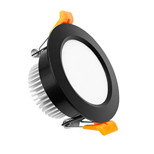 YGS-Tech 2 Inch LED Recessed Lighting Dimmable Downlight, 3W(35W Halogen Equivalent), 3000K Warm White, CRI80, Black Trim, LED Ceiling Light with LED Driver (1 Pack)