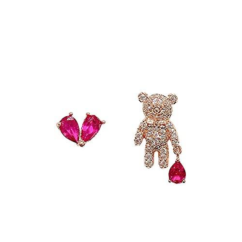 miaoyu Pendientes de tuerca de oso asimétrico para mujer, pendientes de cristal, diseño de corazón, estilo coreano, joyería de moda para regalo (color de metal: color oro)