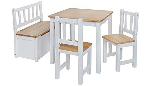 Original IMPAG® Kinder-Sitzgruppe | Großes Kinderzimmer Set 1 Tisch, 2 Stühle, 1 Truhenbank mit Qualitäts-Beschlag | Nordische Fichte | Ergonomisch | Top Möbel-Qualität