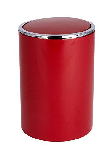 Wenko Kosmetikeimer Inca 5 Liter, Badezimmer-Mülleimer mit Schwingdeckel, kleiner Abfalleimer aus Kunststoff, Ø 18,5 x 25,5 cm, rot