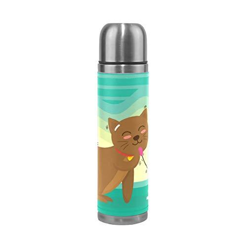 TIKISMILE - Taza térmica de acero inoxidable con diseño de gato de dibujos animados y ratones de doble pared con aislamiento, botella de agua de acero inoxidable, taza de viaje de piel, regalo de cumpleaños para niños y niñas