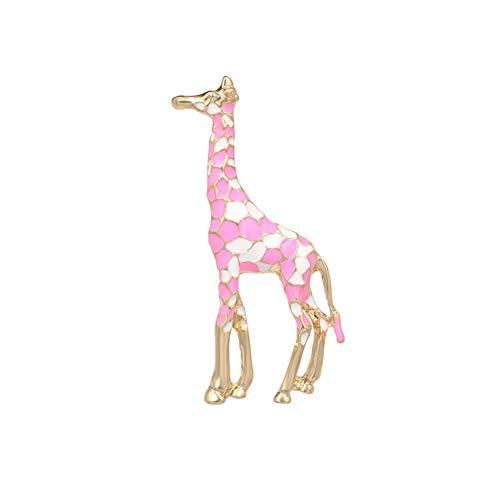 WANGKEAI Broches De Jirafa De Metal De Color Dorado Esmalte para Mujer Pin De Animal Dulce Regalo De Joyería De Moda