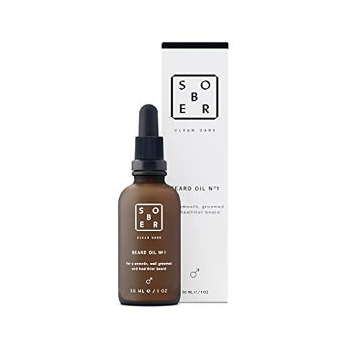 sober®   Beard Oil No. 1   Veganes Bartöl   Natürliche Bartpflege für Männer mit kostbarem Argan-, Jojoba- und Avocadoöl