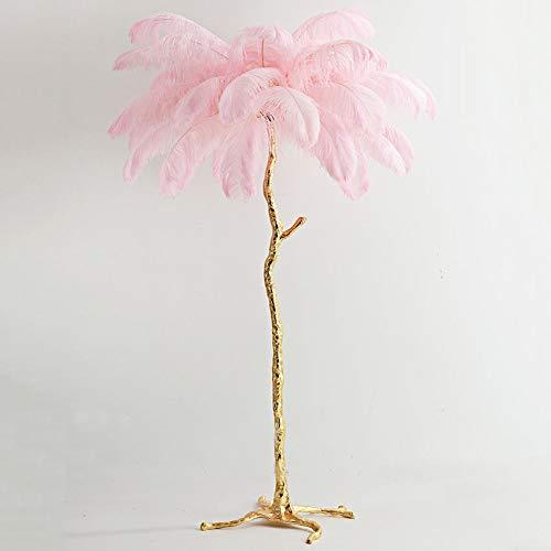 Lámpara de escritorio Nordic con plumas de avestruz, de cobre, iluminación interior moderna, decoración del hogar, suelos, plumas (color del cuerpo: S 80 cm, color : rosa)