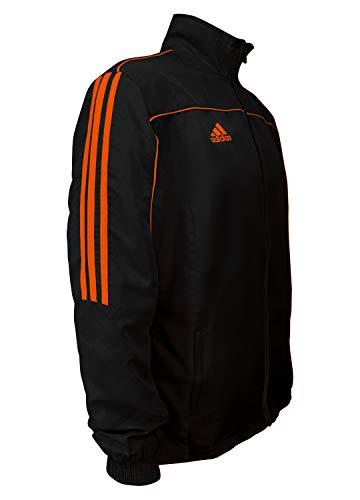 adidas Kampfsport Taekwondo 3-Streifen Light Trainingsanzug 100% Polyester Langarm Jacke, Herren, Schwarz Neon Orange, Large
