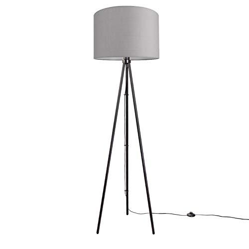 Paco Home LED Stehlampe Modern Wohnzimmer Schlafzimmer, Dreibein, Deko Stehleuchte E27, Lampenfuß:Dreibeinig Schwarz + Leuchtmittel, Lampenschirm:Grau (Ø45.5 cm)