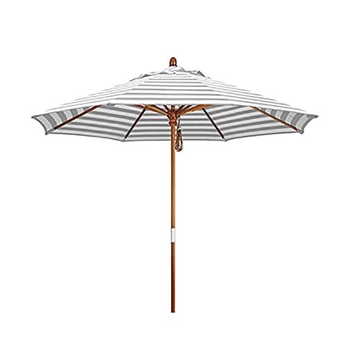 Sombrilla Paraguas de mesa de patio a rayas de 6.9 pies para mesas de café, paraguas de mercado de jardín redondo extra grande a prueba de lluvia y sol, con 8 varillas de sombrilla resistentes, para p