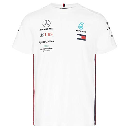 Official Formula One Merchandise | Männer | Offizielle Mercedes-AMG Petronas Motorsport 2019 F1™ | Team T-Shirt | Weiß | Baumwolle und Elestan | Größe: XL