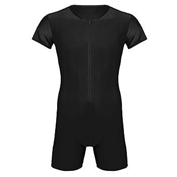 inlzdz Men s Spandex Front Zipper Boxer Briefs Wrestling Singlet Leotard Bodysuit Jumpsuit Black Medium