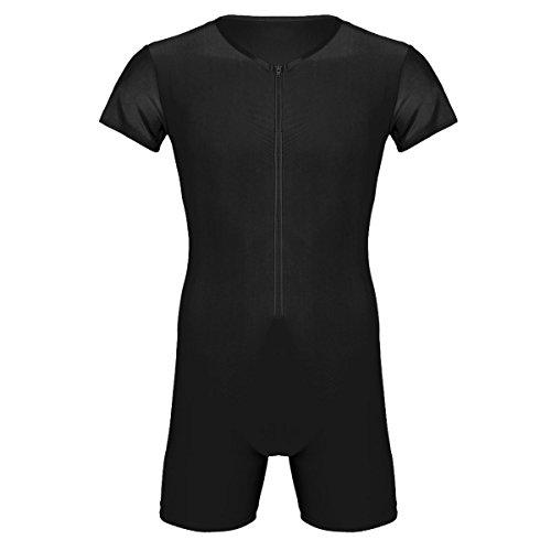 Agoky Herren Body Bodysuit Einteiler Kurz mit Reissverschluss Overall Slim Fit Männerbody Kurzarm Unterhemd Boxershorts Unterwäsche M-XXL Schwarz A L