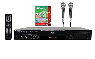 Acesonic DGX-220 HDMI Multi-Format Karaoke Player Bundle With 2 PX-88 PerformMax Professional Dynamic Vocal Microphone & 6 CDG Christmas Pack