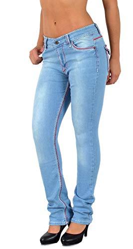 ESRA Damen Jeans Jeanshose Damen Hose Straight Leg Dicke Naht Jeanshosen Damenjeans bis große Größen J755