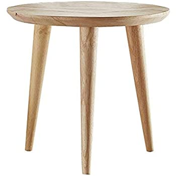 Amazon Com Woodshine Side Table Small Round Solid Wood Sofa Table End Tables Accent Nesting Coffee Table Natural H 14 37inch Kitchen Dining