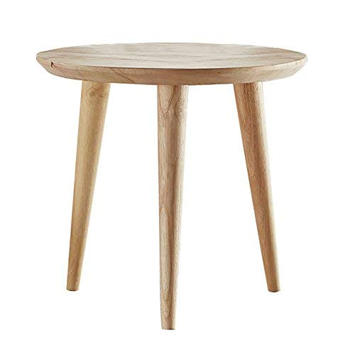 WoodShine Side Table Small Round Solid Wood Sofa Table End Tables Accent Nesting Coffee Table Natural(H:14.37inch)