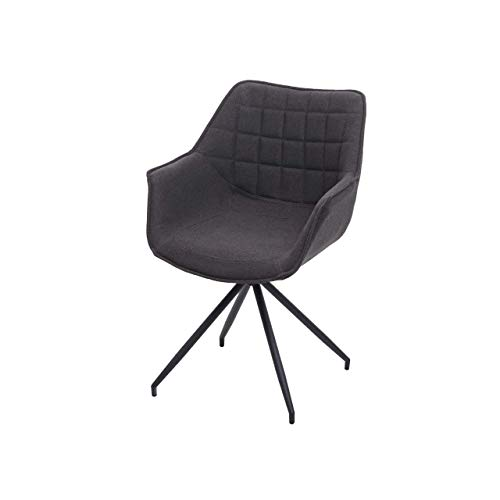 Esszimmerstuhl HWC-H44, Küchenstuhl Stuhl, drehbar Auto-Position Metall ~ Stoff/Textil dunkelgrau, Fuß schwarz
